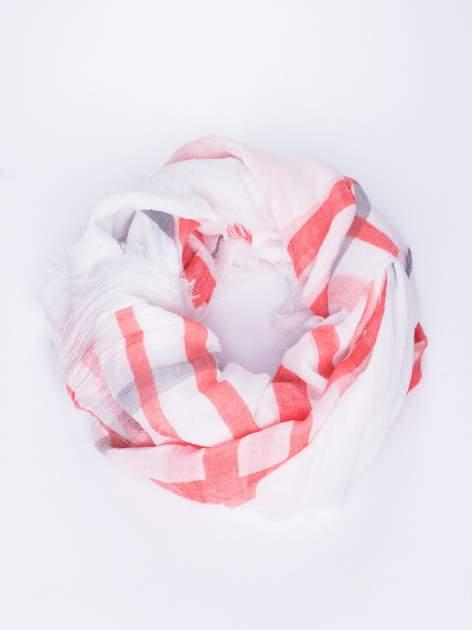Czerwona bawełniana chustka z frędzelkami