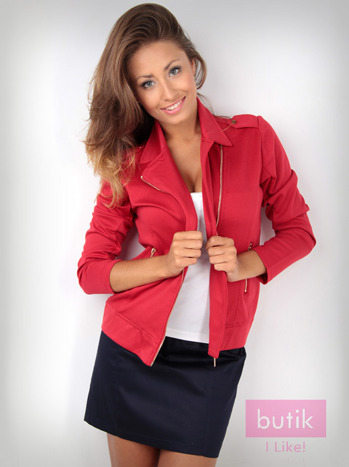 Czerwona bluza dresowa o kroju ramoneski                                  zdj.                                  2
