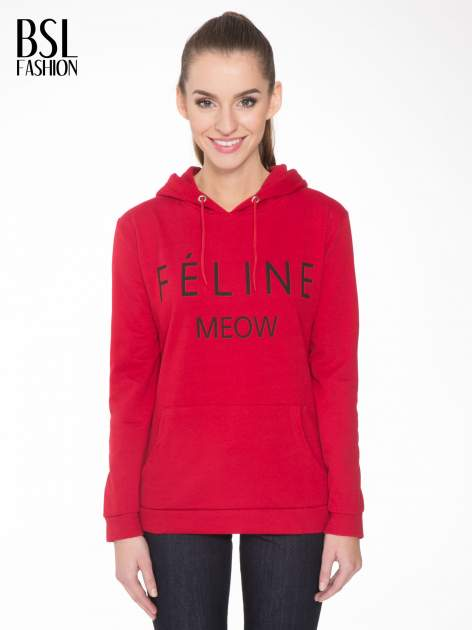 Czerwona bluza kangur z kapturem i nadrukiem FÉLINE MEOW