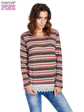 Czerwona bluza w azteckie wzory z koronką                                  zdj.                                  1