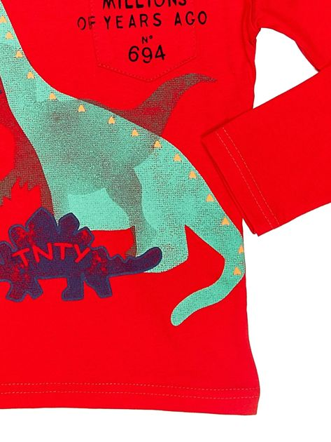 Czerwona bluzka dziecięca z dinozaurami                              zdj.                              4