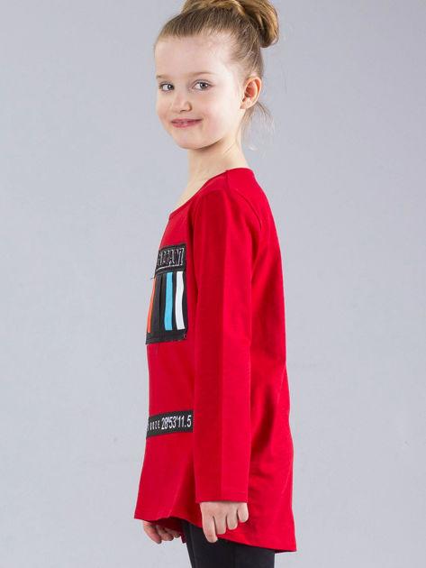 Czerwona bluzka dziewczęca z aplikacjami                              zdj.                              3