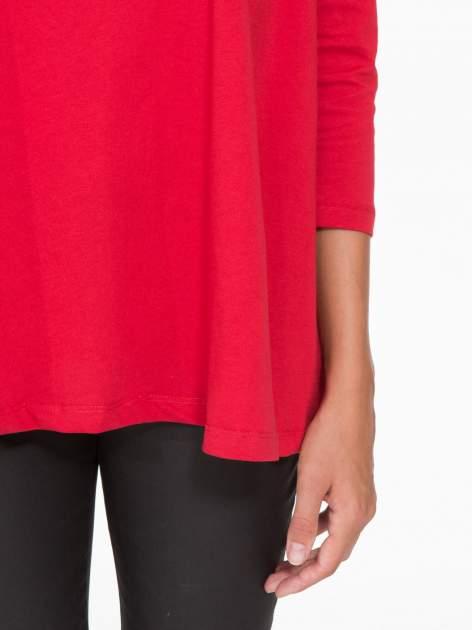 Czerwona bluzka o rozkloszowanym kroju z rękawem 3/4                                  zdj.                                  7
