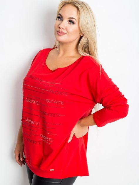 Czerwona bluzka plus size Shay                              zdj.                              5