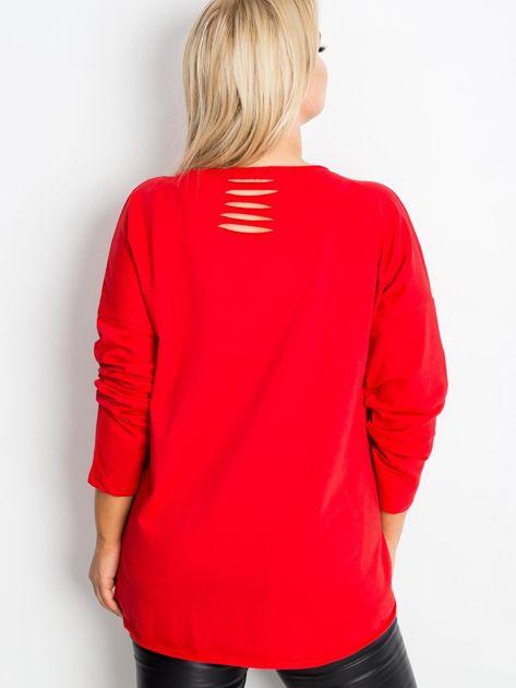 Czerwona bluzka plus size Shay                              zdj.                              2