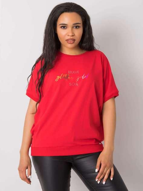 Czerwona bluzka plus size z napisem Jewel