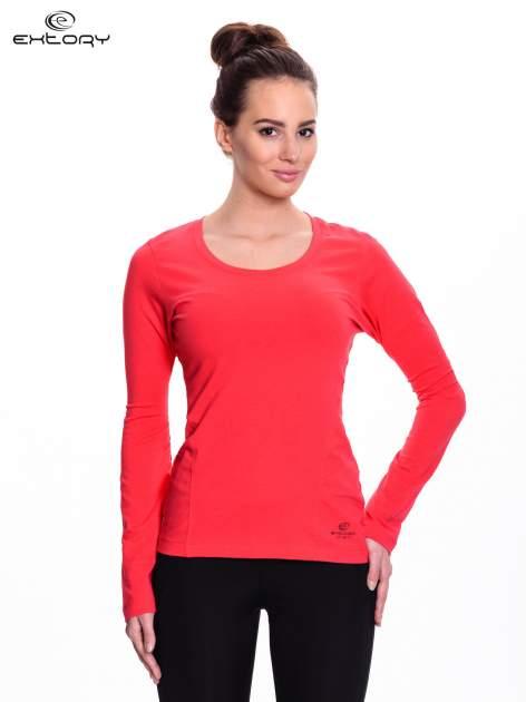Czerwona bluzka sportowa z dekoltem U                                  zdj.                                  1