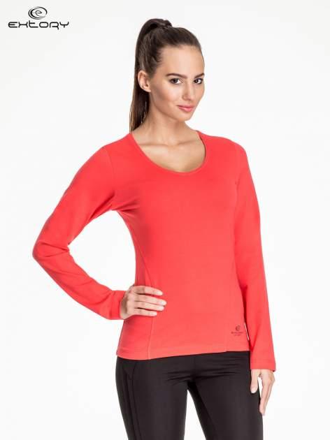Czerwona bluzka sportowa z dekoltem V                                  zdj.                                  1