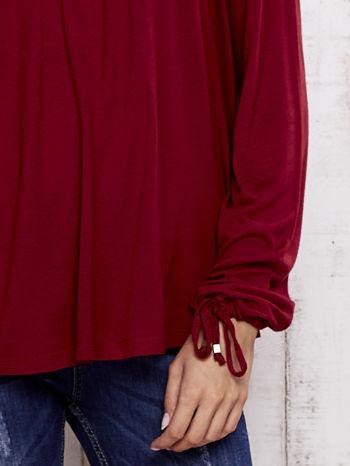 Czerwona bluzka z koronkowym dekoltem                                  zdj.                                  5