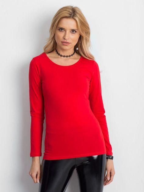 Czerwona bluzka z ozdobnym plecionym dekoltem z tyłu                              zdj.                              4