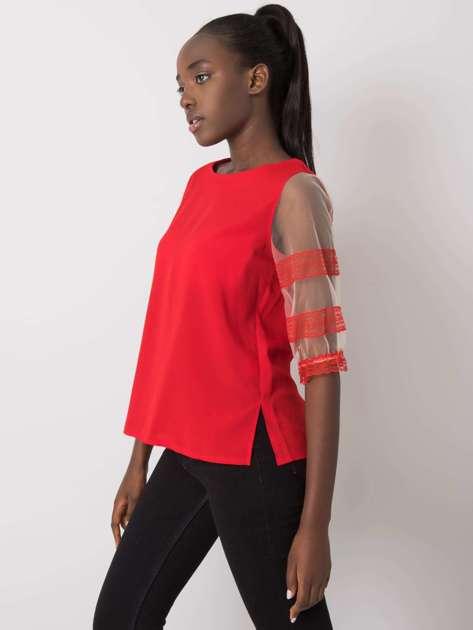 Czerwona bluzka z ozdobnymi rękawami Cora