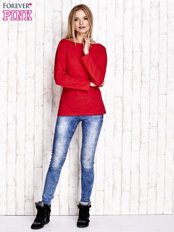 Czerwona bluzka z wycięciem na plecach i kokardą                                  zdj.                                  2
