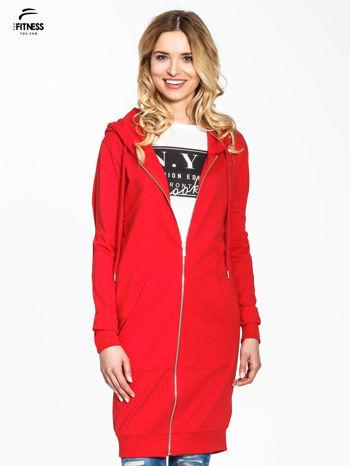 Czerwona długa bluza z kapturem                                   zdj.                                  2
