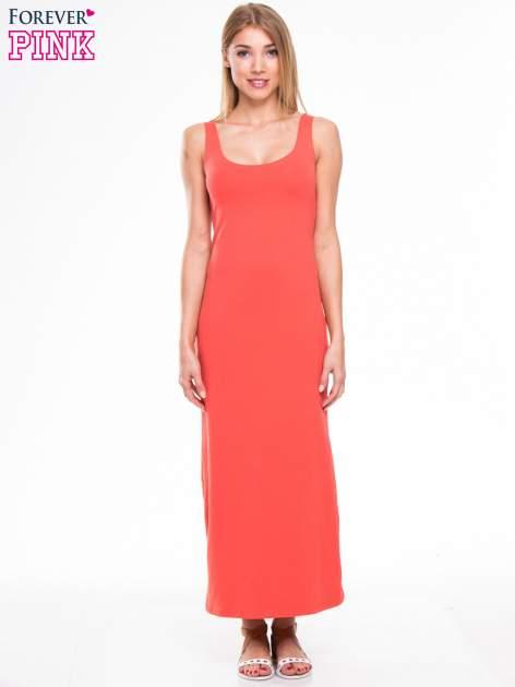 Czerwona długa sukienka maxi na ramiączkach                                  zdj.                                  1