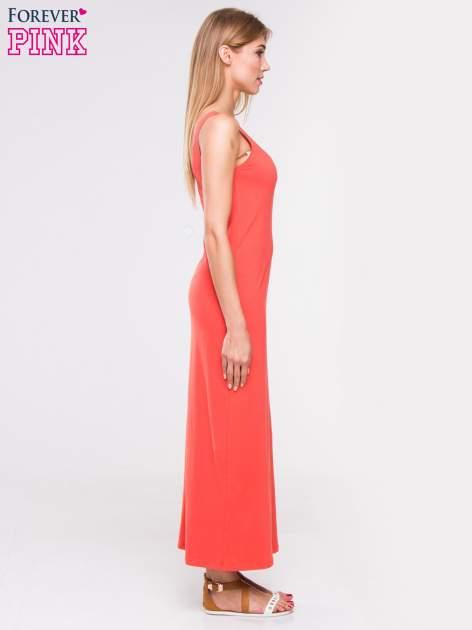 Czerwona długa sukienka maxi na ramiączkach                                  zdj.                                  3