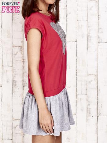 Czerwona dresowa sukienka tenisowa z sercem                                  zdj.                                  3