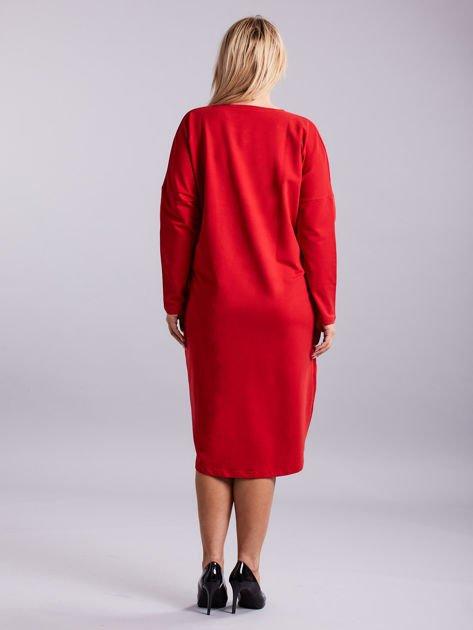 c7488d06a5 Czerwona dresowa sukienka z kieszeniami PLUS SIZE - Sukienka plus ...