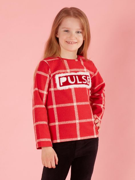 Czerwona dziecięca bluzka w kratę