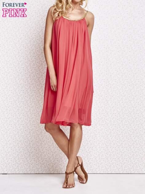 Czerwona grecka sukienka ze złotym paskiem                                  zdj.                                  6