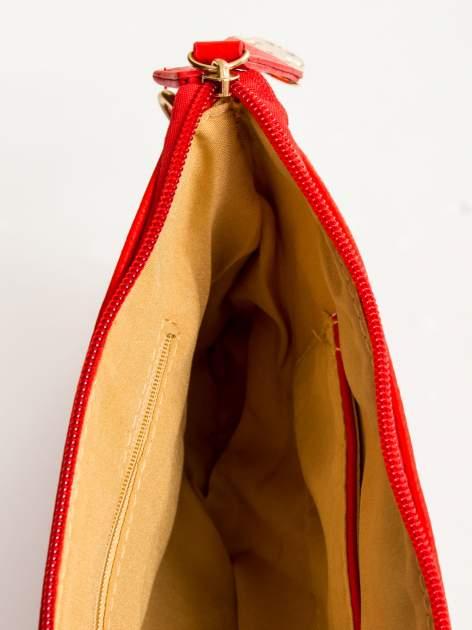 Czerwona kopertówka z dżetami motyw apple                                  zdj.                                  8