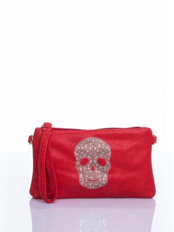 Czerwona kopertówka z dżetami motyw czaszki                                  zdj.                                  2