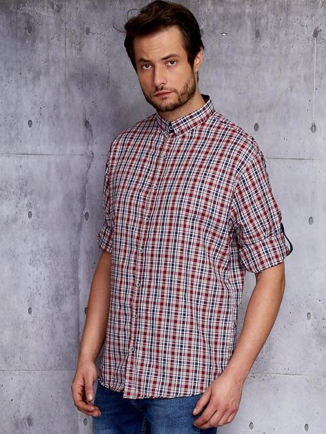 Czerwona koszula męska w kratę z podwijanymi rękawami PLUS SIZE                              zdj.                              3