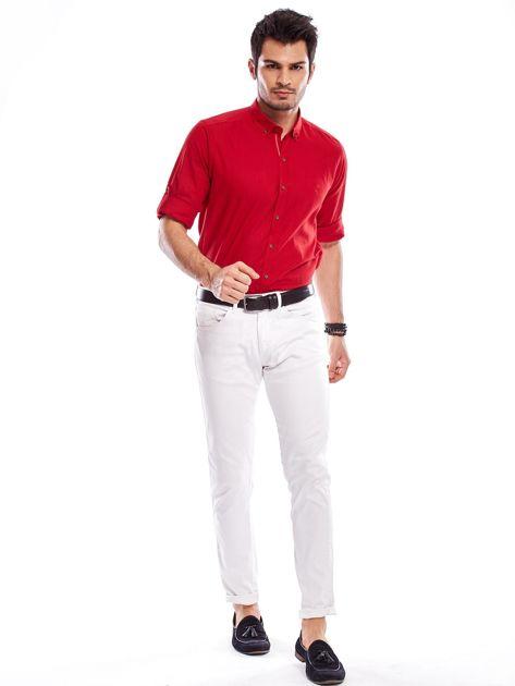 Czerwona koszula męska z podwijanymi rękawami                              zdj.                              11