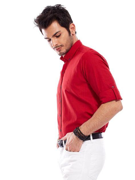 Czerwona koszula męska z podwijanymi rękawami                              zdj.                              3