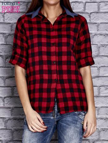 Czerwona koszula w kratę z denimową wstawką                                  zdj.                                  1