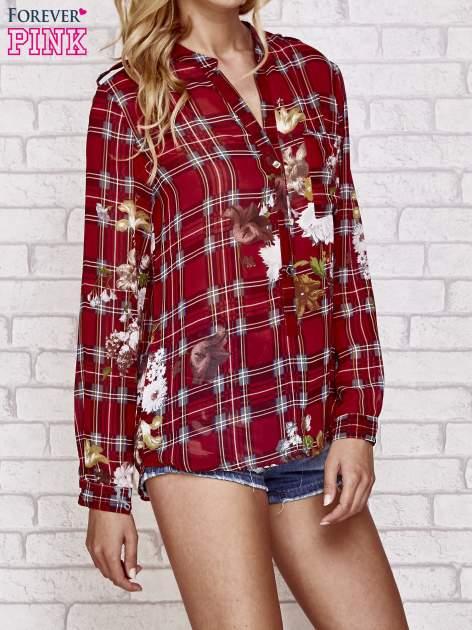 Czerwona koszula w kratę z kwiatami                                  zdj.                                  3