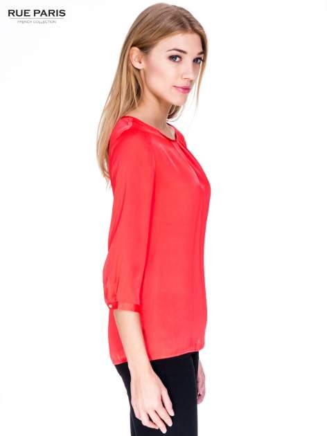 Czerwona koszula z marszczonym dekoltem i rękawami 3/4                                  zdj.                                  3