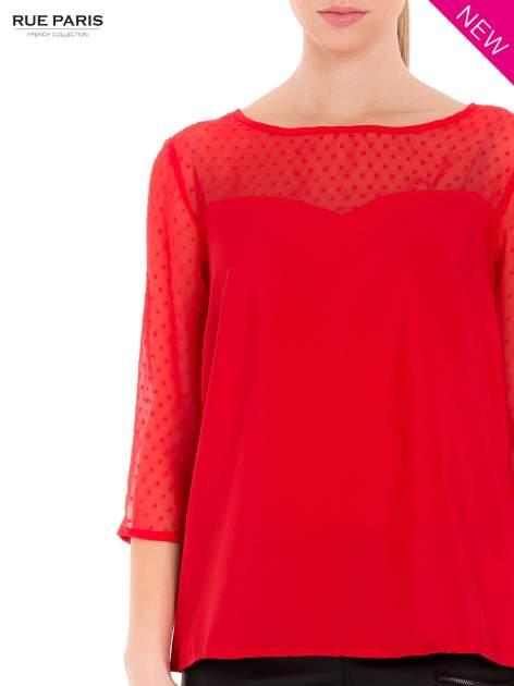 Czerwona koszula z przezroczystym materiałem w groszki                                  zdj.                                  6