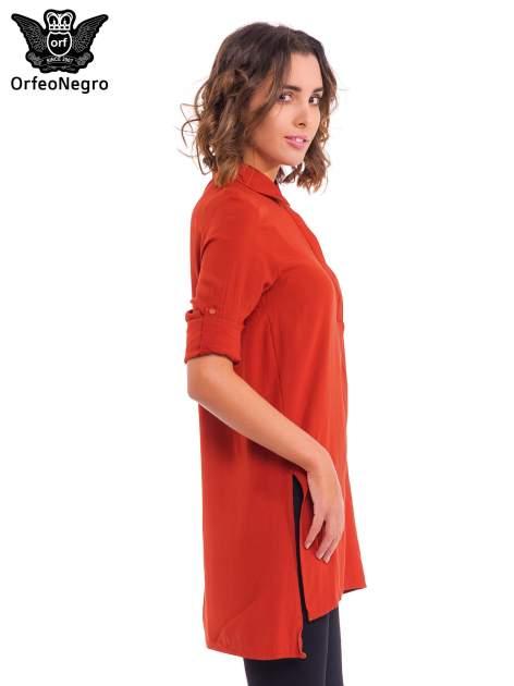 Czerwona koszulotunika z rozcięciami                                  zdj.                                  5
