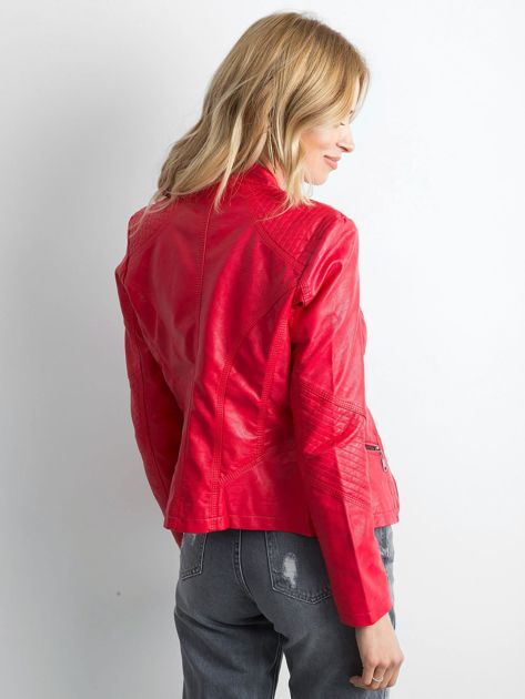 Czerwona kurtka biker ze skóry ekologicznej                              zdj.                              2