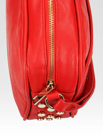 Czerwona mała torebka listonoszka z dżetami                                  zdj.                                  7