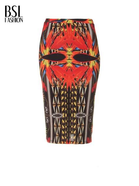 Czerwona ołówkowa spódnica tuba w azteckie wzory                                  zdj.                                  5