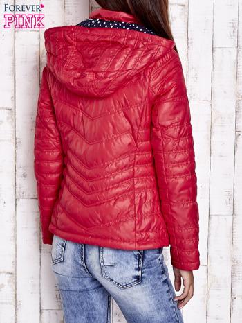 Czerwona pikowana kurtka z wykończeniem w groszki                                  zdj.                                  2