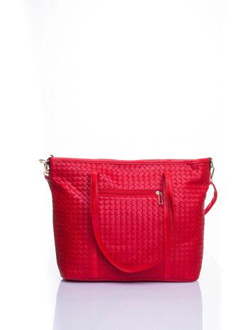 Czerwona pleciona torba shopper bag ze złotym detalem                                  zdj.                                  3