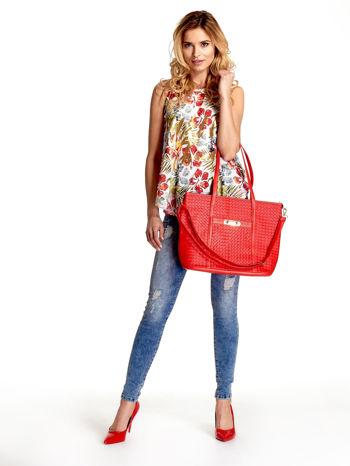 Czerwona pleciona torba shopper bag ze złotym detalem                                  zdj.                                  6