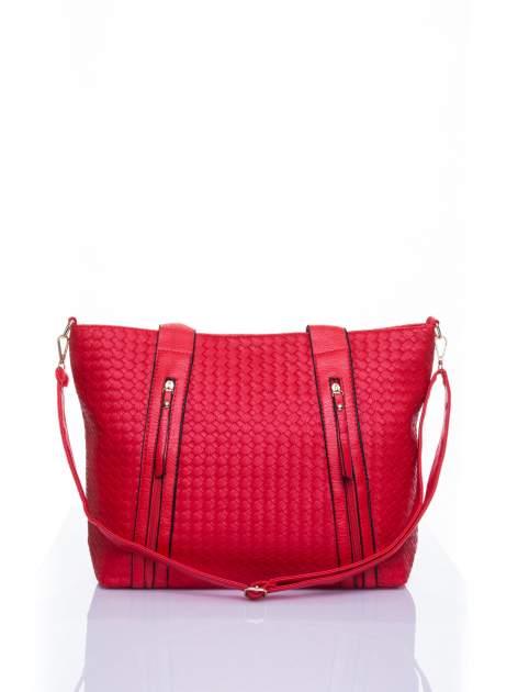 Czerwona pleciona torebka z suwakami                                  zdj.                                  1