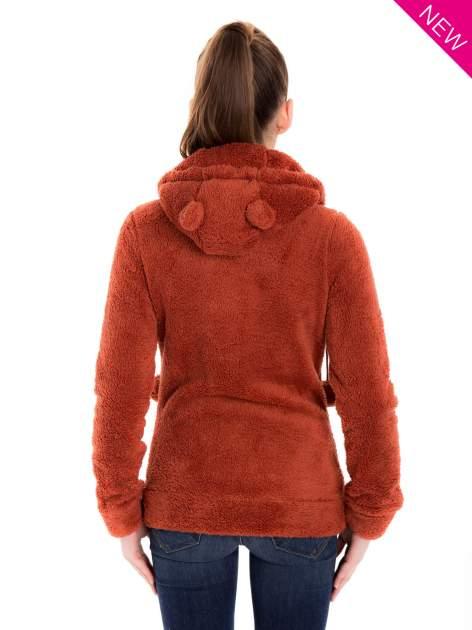 Czerwona pluszowa bluza z kapturem z uszkami i pomponami                                  zdj.                                  2