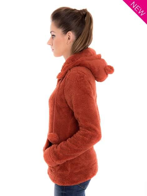 Czerwona pluszowa bluza z kapturem z uszkami i pomponami                                  zdj.                                  3