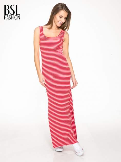 Czerwona prosta długa sukienka w paski z bawełny                                  zdj.                                  2