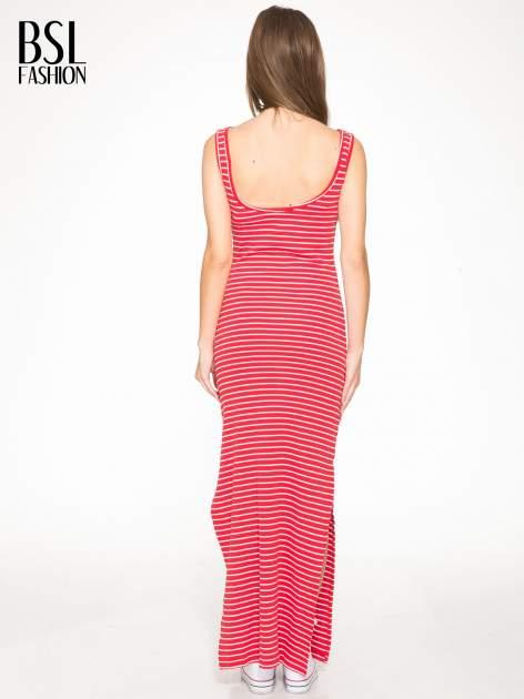 Czerwona prosta długa sukienka w paski z bawełny                                  zdj.                                  4