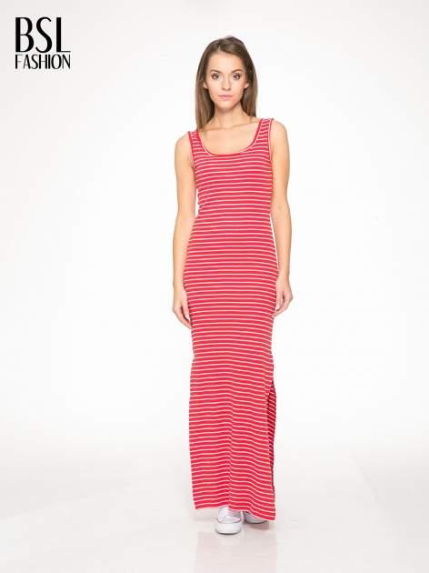 Czerwona prosta długa sukienka w paski z bawełny