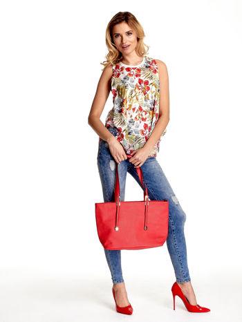 Czerwona prosta torba shopper bag                                  zdj.                                  2