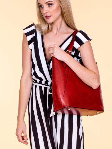 Czerwona skórzana torba shopper bag                              zdj.                              4