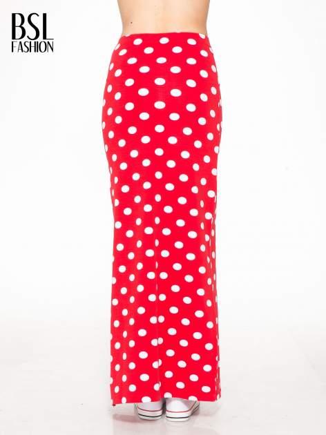 Czerwona spódnica maxi w grochy                                  zdj.                                  4