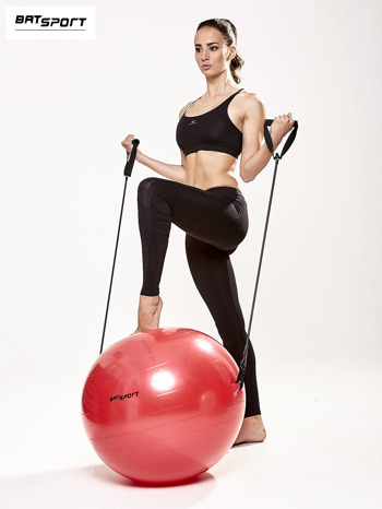 Czerwona średnia piłka fitness z ekspanderami                                  zdj.                                  2