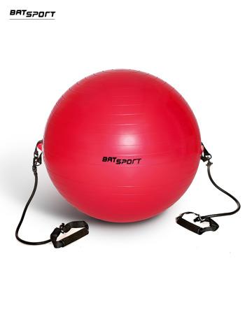 Czerwona średnia piłka fitness z ekspanderami                                  zdj.                                  1